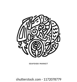 Black and white round composition of vector elements of seafood in creative emblem isolated on white background