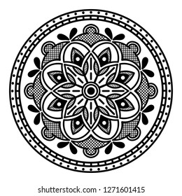 Black and white round ethnic mandala, vector illustration on white background. Can be used for coloring book, greeting card, phone case print, etc. Islam, Arabic, Pakistan, Moroccan, Turkish motifs.
