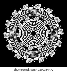 Black and white round floral greek vector mandala pattern. Ancient ornamental abstract background. Geometric shapes and flowers. Decorative ornate design in Baroque  style. Greek key meanders ornament
