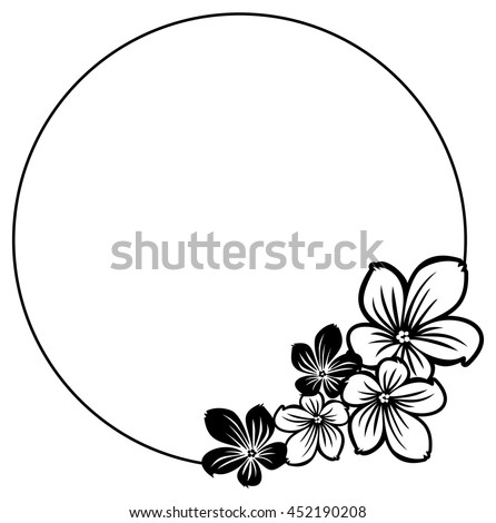 Black white round frame abstract flowers stock vector royalty free black and white round frame with abstract flowers silhouettes vector clip art mightylinksfo