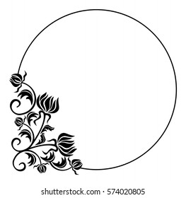 Black and white round frame with flowers silhouettes. Copy space. vector clip art.