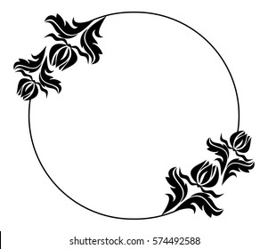 Black white round frame flowers silhouettes stock vector royalty black and white round frame with flowers silhouettes copy space vector clip art mightylinksfo