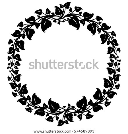 Black white round frame flowers silhouettes stock vector royalty black and white round frame with flowers silhouettes vector 1 mightylinksfo
