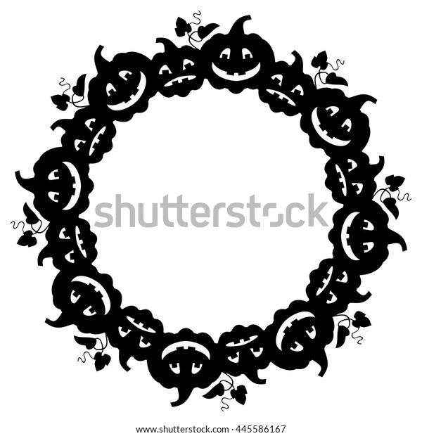 Halloween Vector Black And White.Black White Round Frame Halloween Pumpkin Stock Vector Royalty Free