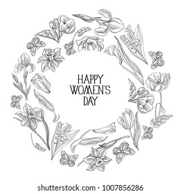 Black and white round frame sketch composition postcard with many objects around the text about womens day decorated by the flowers on white background vector illustration.