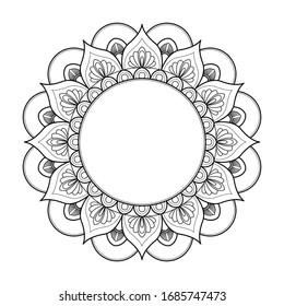 Black and white round mandala isolated on white background. Vector illustration