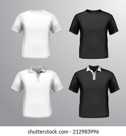 Black and white round neck and polo t-shirts male set isolated vector illustration