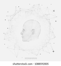 Black and White Round Network Wireframe with 3D Robotic Lines Head on White Background Vector - Futuristic Humanoid Design