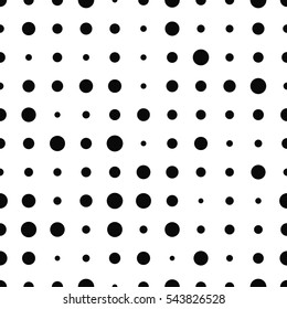 Black and white round seamless pattern. Vector illustration.