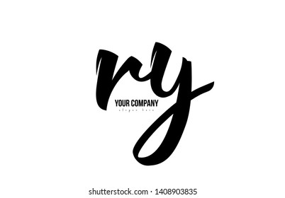black and white ry r y alphabet letter combination suitable as a logo icon design for a company or business