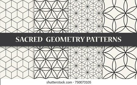 black and white sacred geometry pattern set