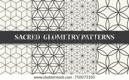 Black White Sacred Geometry Pattern Set Stock Vector Royalty Free Stunning Sacred Geometry Patterns