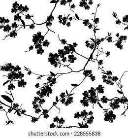 Black and white sakura seamless vector background