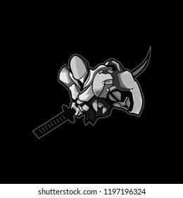 Black and white  samurai logo mascot for sport, e sports