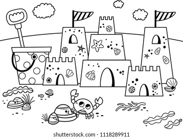 Beach Coloring Book Stock Illustrations, Images & Vectors | Shutterstock