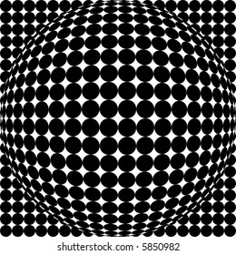 Black and white scalable sphere, part of spots and dots series