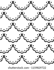 Black and white scalloped lacy edge embroidery, seamless pattern, vector