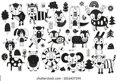 Black and white scandinavian monochrome prints animals set. Doodle cartoon forest and jungle animals for nursery posters, cards, t-shirts. Vector illustration. Bear, zebra, lion, tiger, croc, hippo.