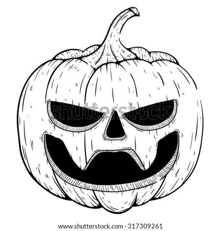 Black White Scary Vampire Halloween Pumpkin Stock Vector Royalty