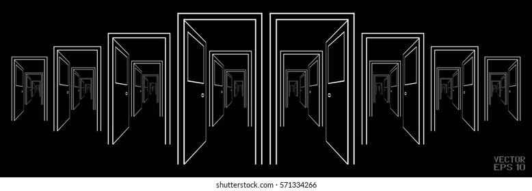 Black and White Schematic Image of Suite of Rooms. A Series of Open Doors. Vector. 3D Illustration