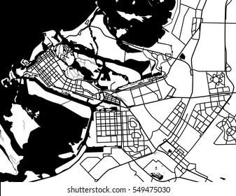Black and white scheme of the Abu Dhabi, UAE. City Plan of Abu Dhabil. Vector illustration