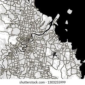 Black and white scheme of the Brisbane, Australia. City Plan of Brisbane. Vector illustration