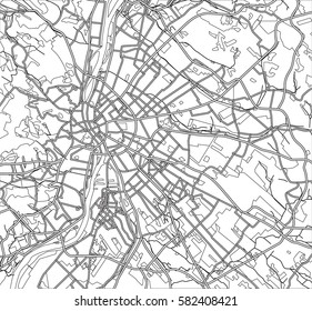 Black and white scheme of the Budapest, Hungary. City Plan of Budapest. Vector illustration