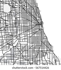 Black and white scheme of Chicago, USA. City Plan of Chicago. Vector illustration