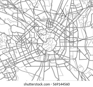 Black and white scheme of the Milan, Italy. City Plan of Milan. Vector illustration