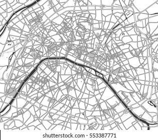 Black and white scheme of the Paris; France. City Plan of Paris. Vector illustration