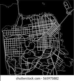 Black and white scheme of San Francisco, USA. City Plan of San Francisco. Vector illustration
