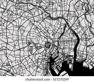 Black and white scheme of the Tokyo, Japan. City Plan of Tokyo. Vector illustration