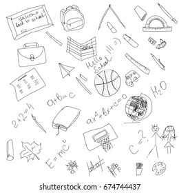 Black and white school doodle, elements hand drawing, vector cartoon illustration