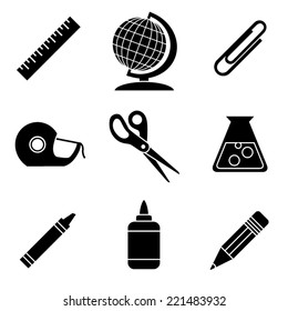 Black and White School and Office Icons