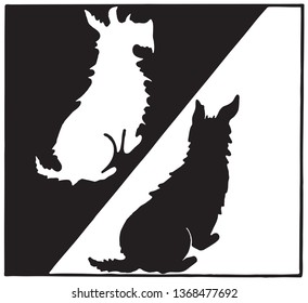 Black And White Scottie Dogs - Retro Ad Art Illustration