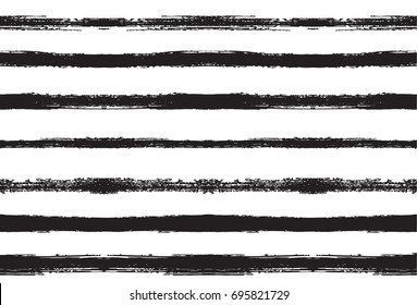 Black and white seamles vector sailor stripes pattern. Trendy hipster textile background. Retro vintage fabric stripy design. Grey scale paintbrush ink strokes. Funky graffiti painted seamless pattern