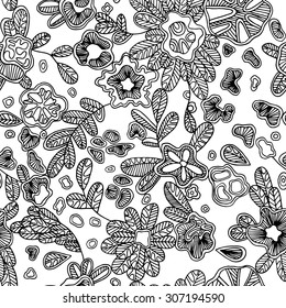 Black and white seamless abstract pattern with hand-drawn flowers, vector illustration. Floral endless pattern will look great on fabric, wrapping paper, any types of textile or other surface design.