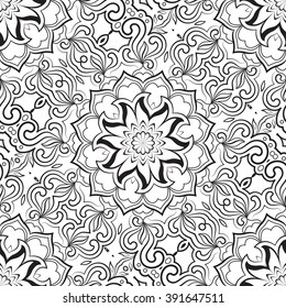 Black and white seamless abstract pattern, mandala. Vector design template for art.