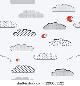 Black and white seamless baby pattern with cute clouds. Vector .