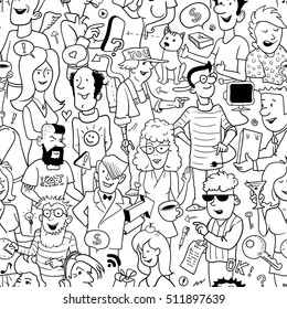 Black and White Seamless Background in Doodle Style. Group of Funny People on White. Vector Illustration for Cover Design.
