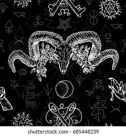 Black and white seamless background with mystic, alchemical and freemason symbols and devils head with horns. Occult and esoteric vector illustration, gothic pattern