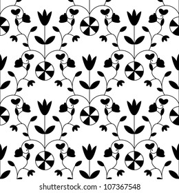 Black and white seamless damask floral pattern