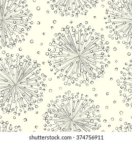 Black and white seamless decorative pattern with abstract flowers. Hand-drawn template texture, doodles. Seamless light floral dandelion background.
