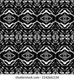 Black and White Seamless Ethnic Boho Pattern. Ikat. Vintage, Grunge, Abstract Tribal Background for Surface Design, Textile, Wallpaper, Surface Textures, Wrapping Paper