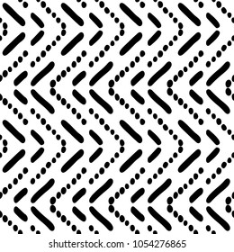 Black and White Seamless Ethnic Pattern. Tribal. Vintage, Grunge, Abstract Tribal Background for Surface Design, Textile, Wallpaper, Surface Textures, Wrapping Paper