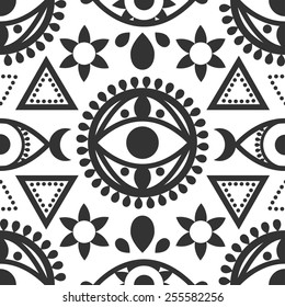 Black and white seamless evil eye pattern with geometric designs.