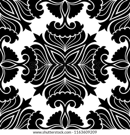 Black White Seamless Floral Pattern Vector Stock Vector Royalty