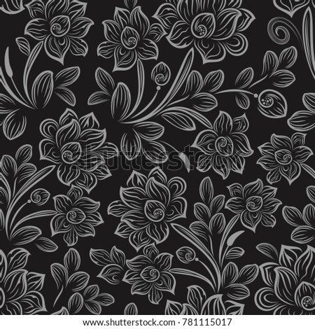 Black White Seamless Floral Wallpaper Pattern Stock Vector Royalty