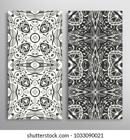 Black and white seamless geometric pattern set. Hand drawn doodle sketch ornament for fabric or paper print. Texture for invitation, card, banner design. Vector illustration