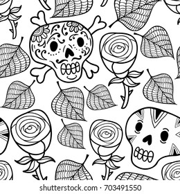 Black and white seamless illustration with roses and sugar skulls. Vector seamless pattern.